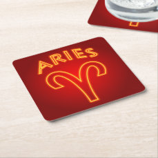 Aries Zodiac Sign Square Paper Coaster