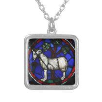 Aries Zodiac Stained Glass Notre-Dame de Paris SPN Silver Plated Necklace