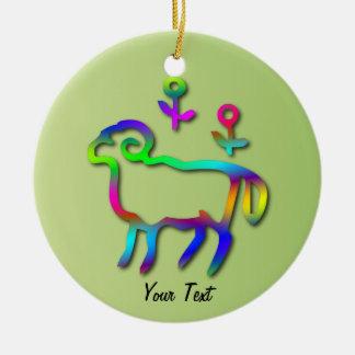 Aries Zodiac Star Sign Color Line Ceramic Ornament