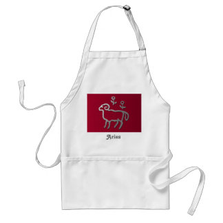 Aries Zodiac Star Sign In Light Silver Adult Apron