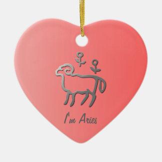 Aries Zodiac Star Sign In Light Silver Ceramic Ornament