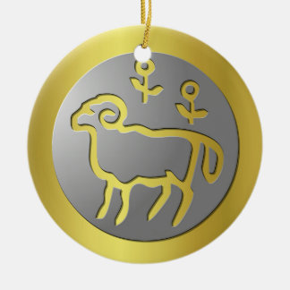 Aries Zodiac Star Sign Silver Premium Double-Sided Ceramic Round Christmas Ornament