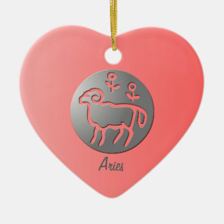 Aries Zodiac Star Sign Silver Premium Double-Sided Heart Ceramic Christmas Ornament