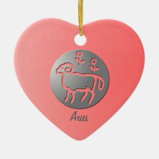 Aries Zodiac Star Sign Silver Premium Christmas Ornament