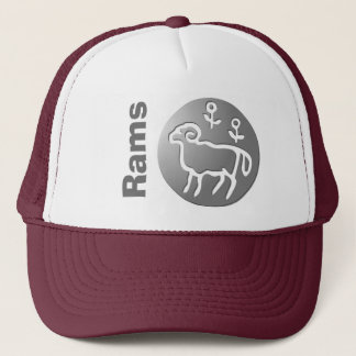 Aries Zodiac Star Sign Silver Premium Trucker Hat