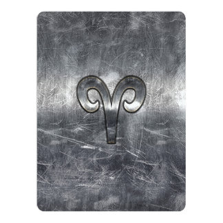 Aries Zodiac Symbol in Silver Distressed Style Card