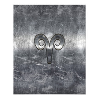 Aries Zodiac Symbol in Silver Distressed Style Flyer