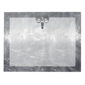 Aries Zodiac Symbol in Silver Distressed Style Notepad