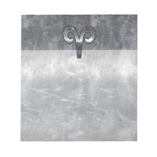 Aries Zodiac Symbol in Silver Steel Style Notepad