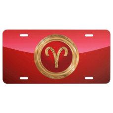 Aries Zodiac Symbol License Plate