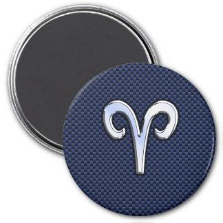 Aries Zodiac Symbol Navy Blue Carbon Fiber Style 3 Inch Round Magnet