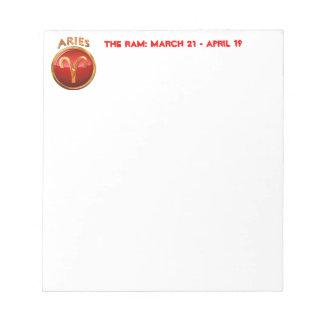 Aries Zodiac Symbol Notepad