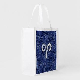 Aries Zodiac Symbol on Navy Blue Digital Camo Grocery Bag