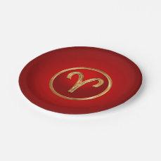 Aries Zodiac Symbol Paper Plate