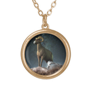 Aries Zodiac Symbol Round Pendant Necklace