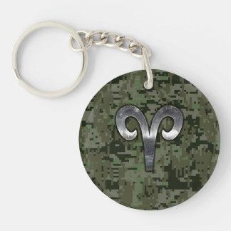 Aries Zodiac Symbol Woodland Digital Camouflage Keychain