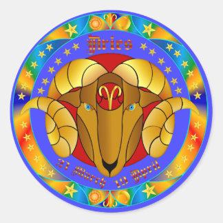 Aries Zodiac-V-1 Set-1 Pegatina Redonda