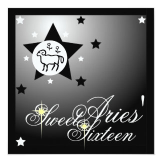 Aries Zodiacal Fortune Sweet Sixteen-Customize 5.25x5.25 Square Paper Invitation Card