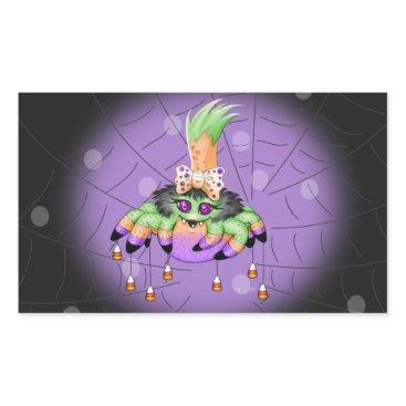 Halloween Themed ARIETTE SPIDER 4.5 x 2.7 inch (sheet of 4 RECT G 3 Rectangular Sticker