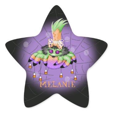 Halloween Themed ARIETTE SPIDER Small 1½ inch sheet  20 STAR G 3 Star Sticker