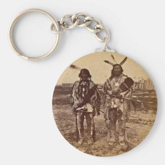 Arikara Chiefs at Fort Berthold  Dakota Territory Basic Round Button Keychain