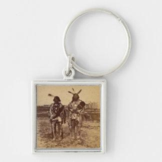 Arikara Chiefs at Fort Berthold  Dakota Territory Silver-Colored Square Keychain