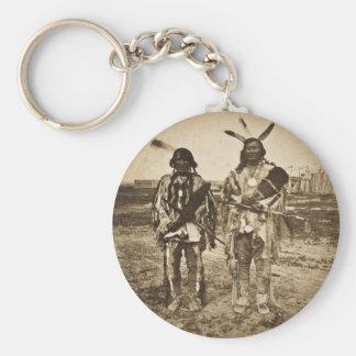Arikara Chiefs at Ft. Berthold Dakota Territory Basic Round Button Keychain