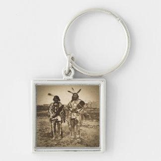 Arikara Chiefs at Ft. Berthold Dakota Territory Silver-Colored Square Keychain