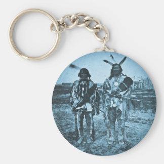 Arikara Chiefs Dakota Territory Vintage Stereoview Basic Round Button Keychain