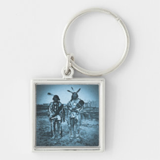 Arikara Chiefs Dakota Territory Vintage Stereoview Silver-Colored Square Keychain