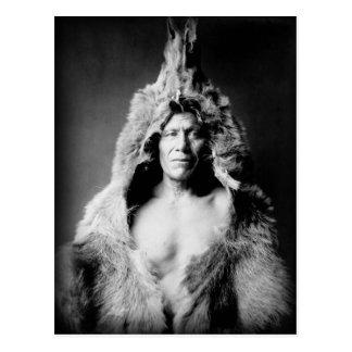 Arikara Indian, Bear's Belly, wearing bearskin Postcard