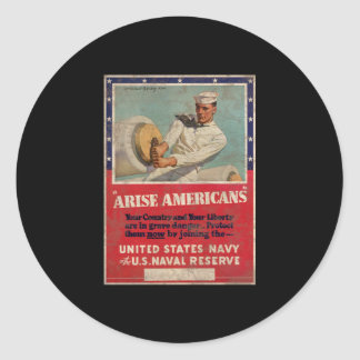 Arise Americans United States Navy Classic Round Sticker