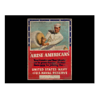 Arise Americans United States Navy Postcard
