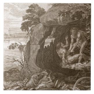 Aristeus obliga al proteus que revele sus oráculos azulejo cuadrado grande