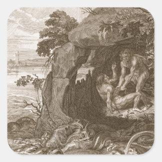 Aristeus obliga al proteus que revele sus pegatina cuadrada
