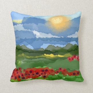 Aristic Abstract Poppy Field Throw Pillow
