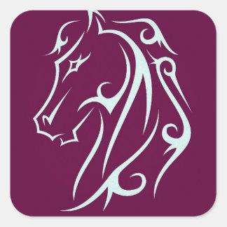 Aristic horse head square sticker