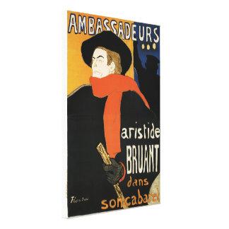 Aristide Bruant at Ambassadeurs - Toulouse Lautrec Canvas Prints
