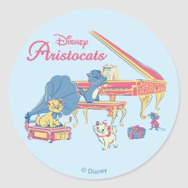 Disney Themed Aristocats at the Piano Classic Round Sticker