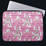 "Aristocats | Marie Paris Pattern Laptop Sleeve<br><div class=""desc"">This pink pattern features the Aristocats,  Marie strolling along in Paris.</div>"