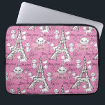 "Aristocats | Marie Paris Pattern Laptop Sleeve<br><div class=""desc"">This pink pattern features the Aristocats,  Marie strolling along in Paris.</div>"