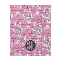 Aristocats | Monogram Marie Paris Pattern Fleece Blanket