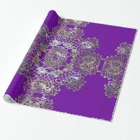 Aristocratic Monogram Purple Wrapping Paper