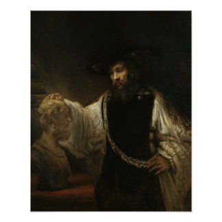 Aristóteles (384-322 A.C.) con un busto del home r Posters