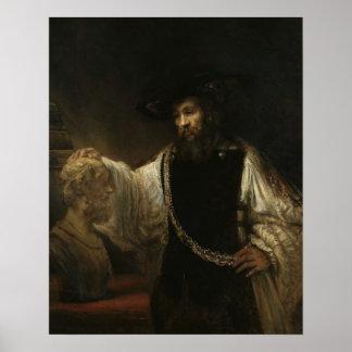 Aristóteles (384-322 A.C.) con un busto del home r Póster