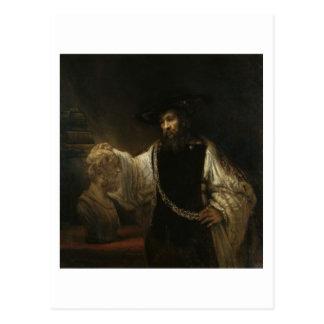 Aristóteles (384-322 A.C.) con un busto del home r Postales