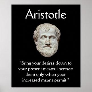 Aristóteles - autodominio y cita del dinero posters