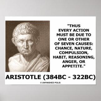 Aristóteles cada acción debido a una o siete causa impresiones