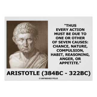 Aristóteles cada acción debido a una o siete causa posters
