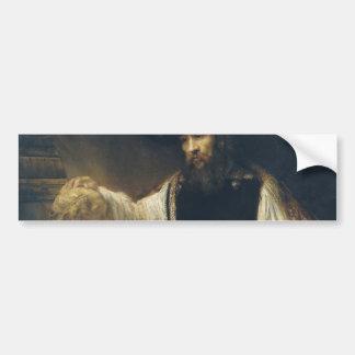 Aristóteles con un busto del home run de Rembrandt Pegatina De Parachoque